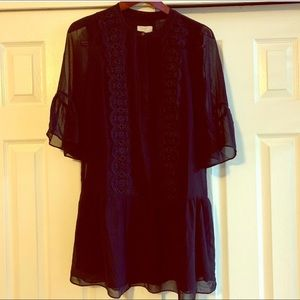 LOFT Navy Blue Flowy Bell Sleeved Dress Size 6P